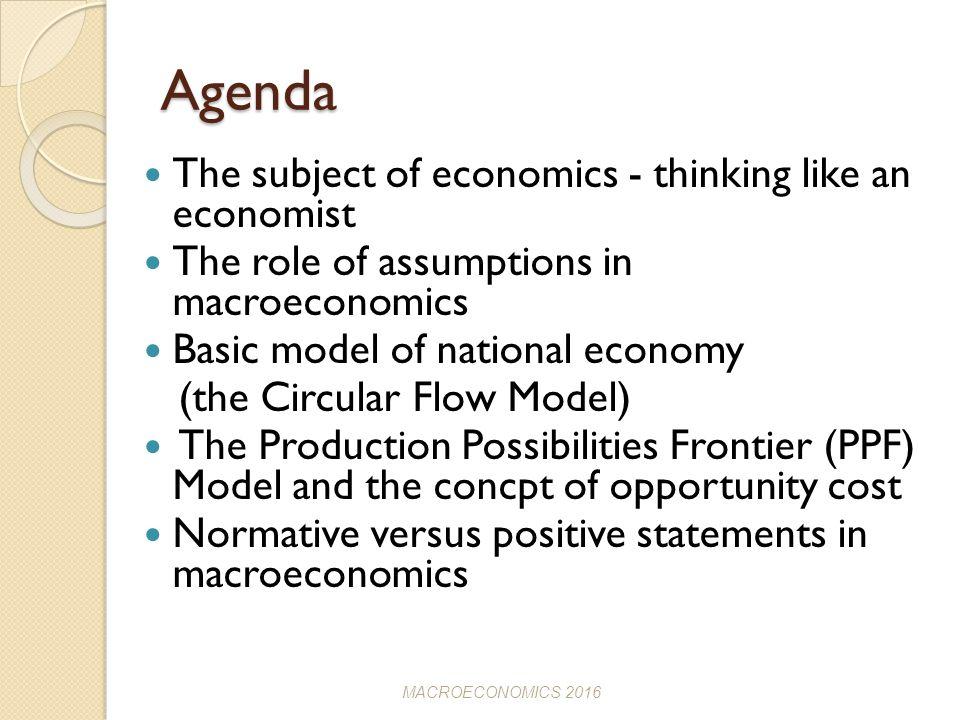 assumptions of macroeconomics
