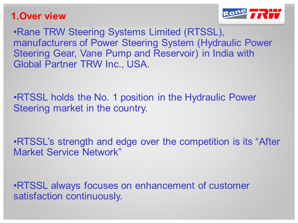 TECHNICAL PRESENTATION OF RTSSL POWER CRUISE POWER STEERING FLUID