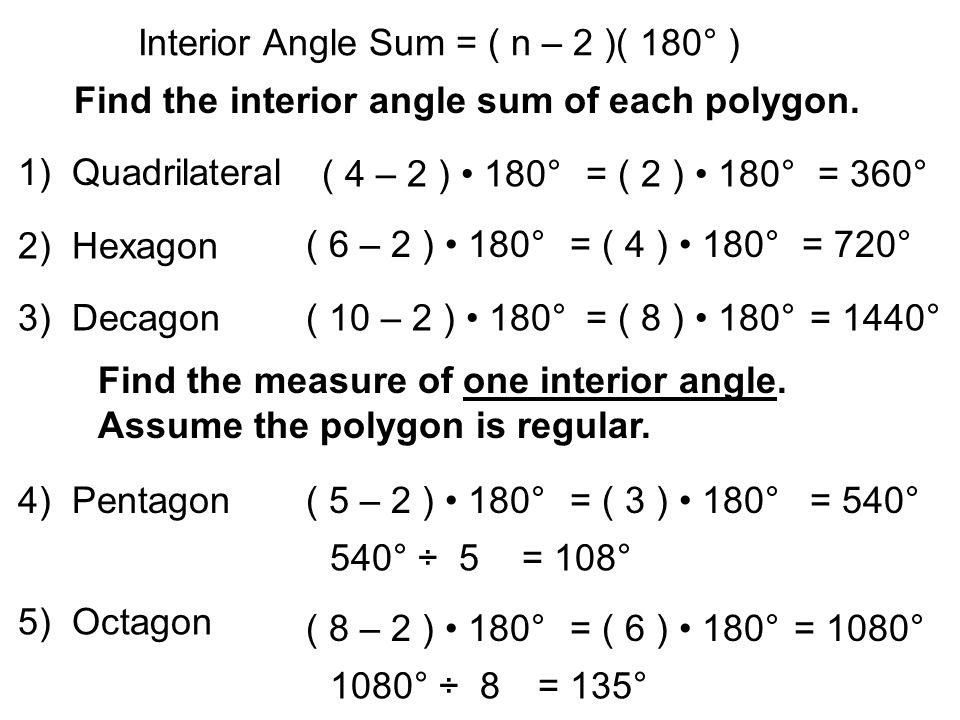 Interior Angle Sum N 2 180 Find The Interior