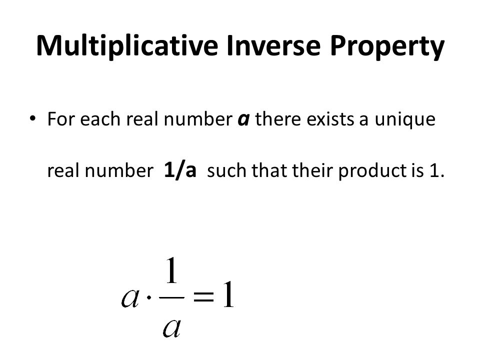 Additive Inverse Property For each real number a there exists a unique real number –a such that their sum is zero.