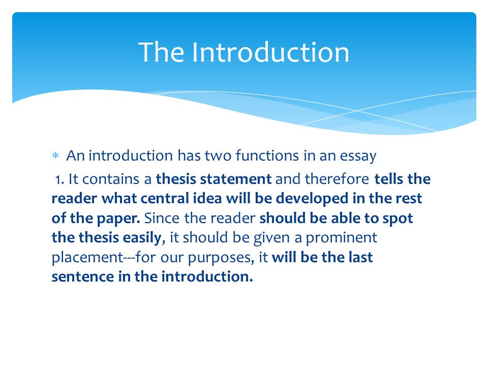 Writing thesis paper introduction