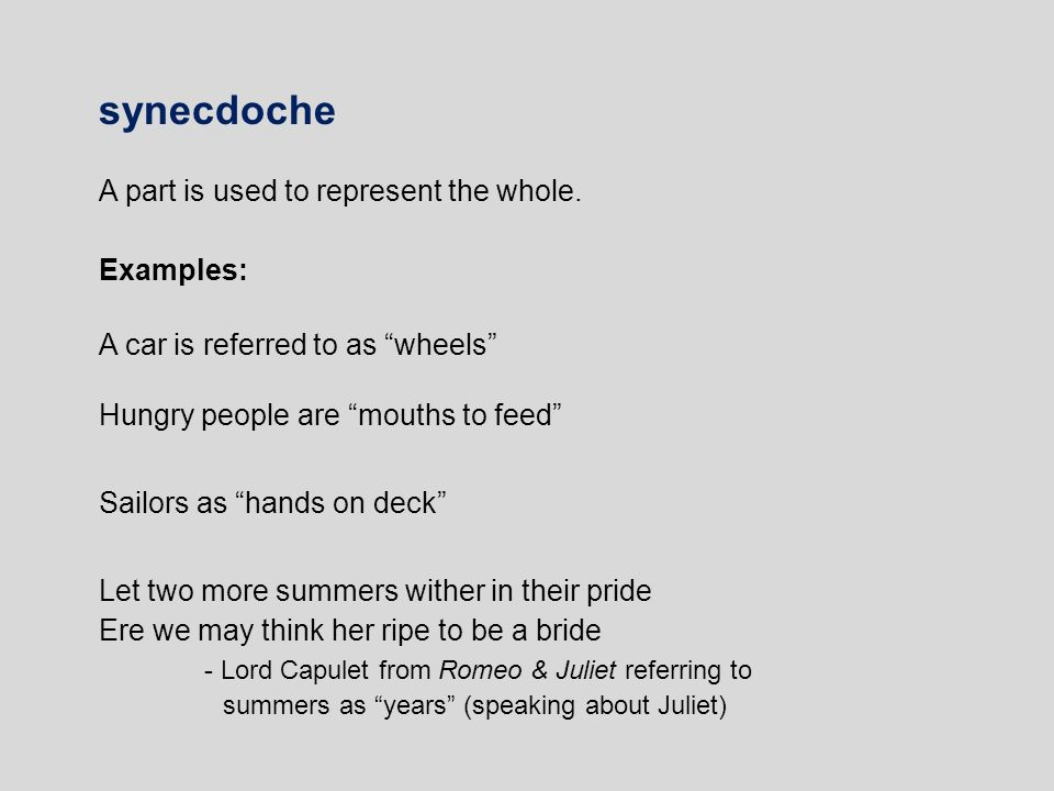 Examples of a synecdoche