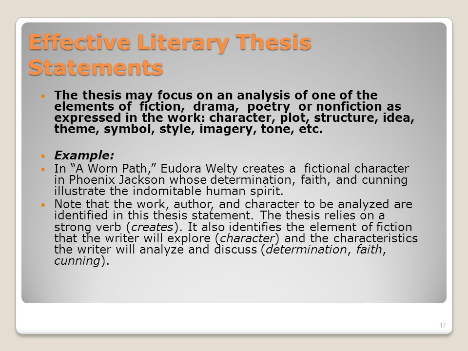 how to write powerful thesis statements copyright  dianne mason   effective literary thesis statements the thesis may focus on an analysis  of one of the elements of fiction drama poetry or nonfiction as expressed  in