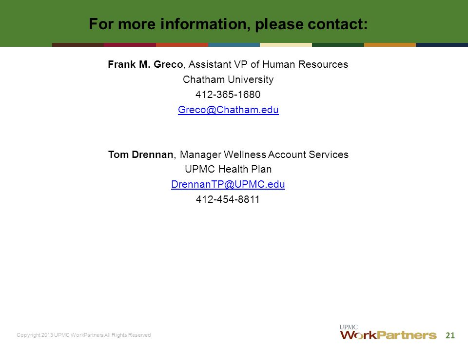 Chatham University The Journey to Health & Wellness  - ppt