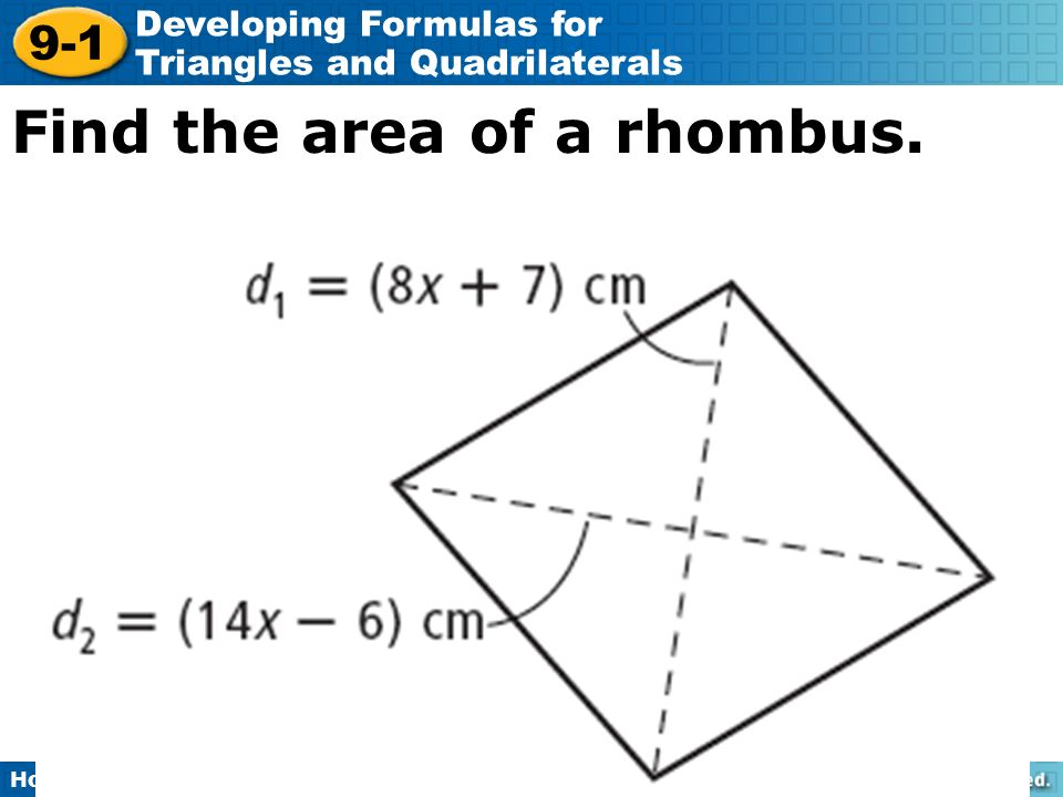 lesson 9-1 problem solving developing formulas for triangles and quadrilaterals answers