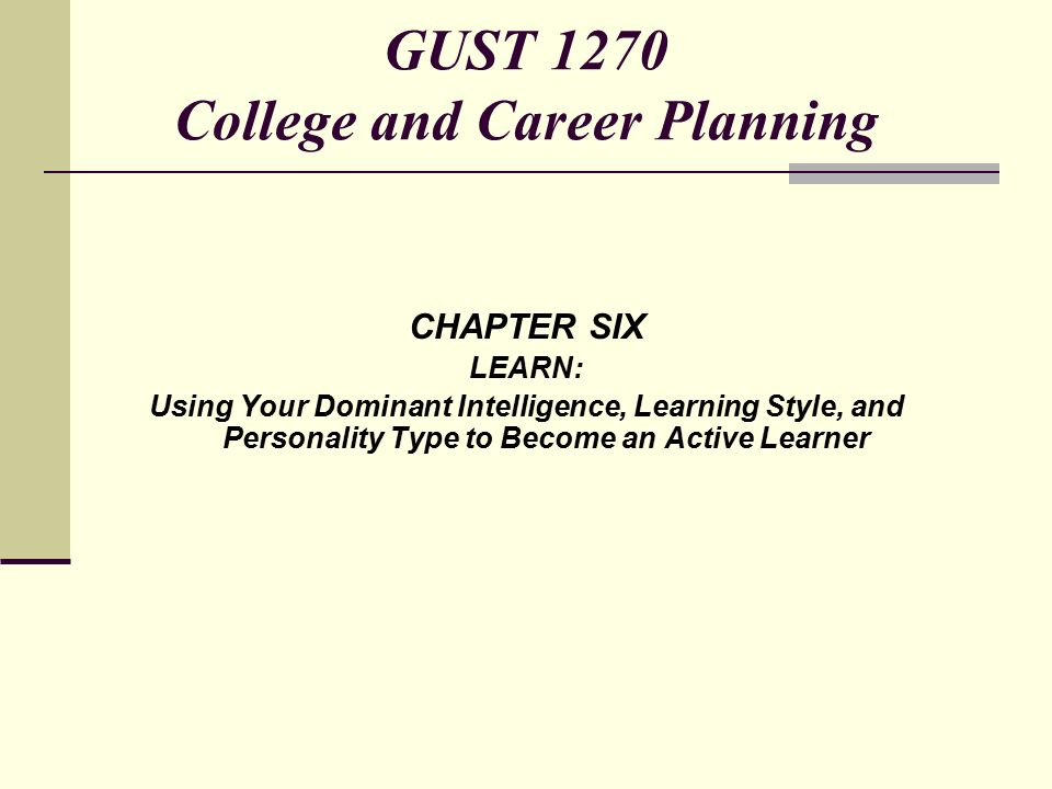 CHAPTER SIX LEARN: Using Your Dominant Intelligence