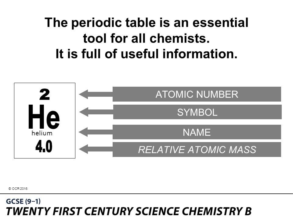 Ocr The Periodic Table Is An Essential Tool For All Chemists It Is