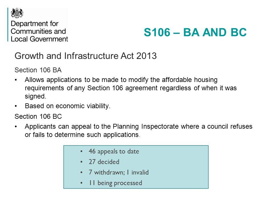 Section 106 Update Darren Wilding Dclg S106 Legislation Section