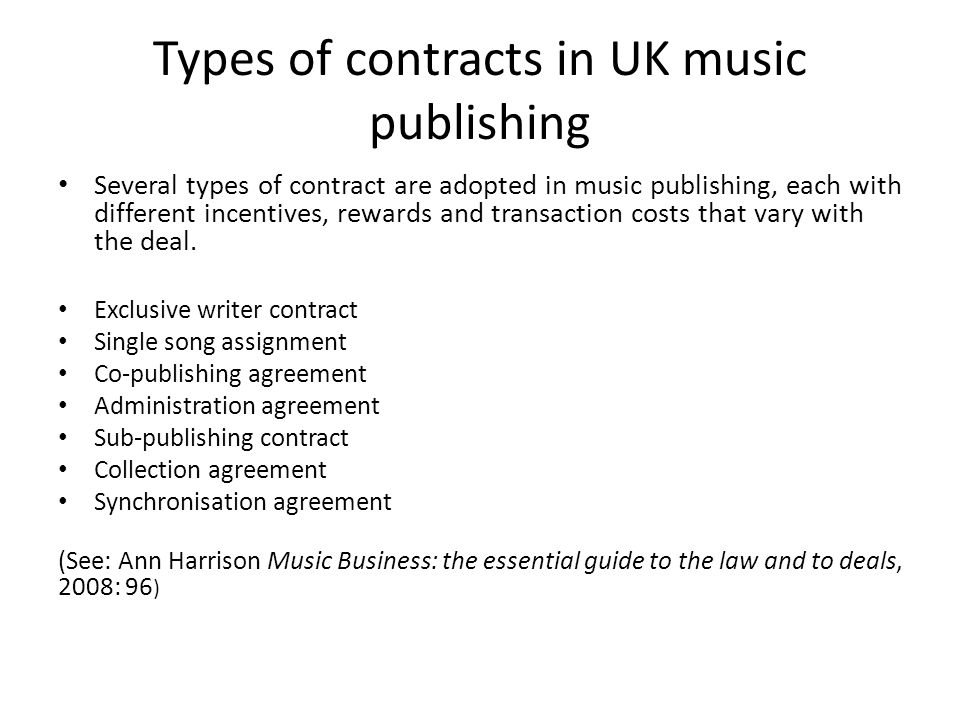 Copyright And Contracts In Uk Music Publishing Ruth Towse Professor