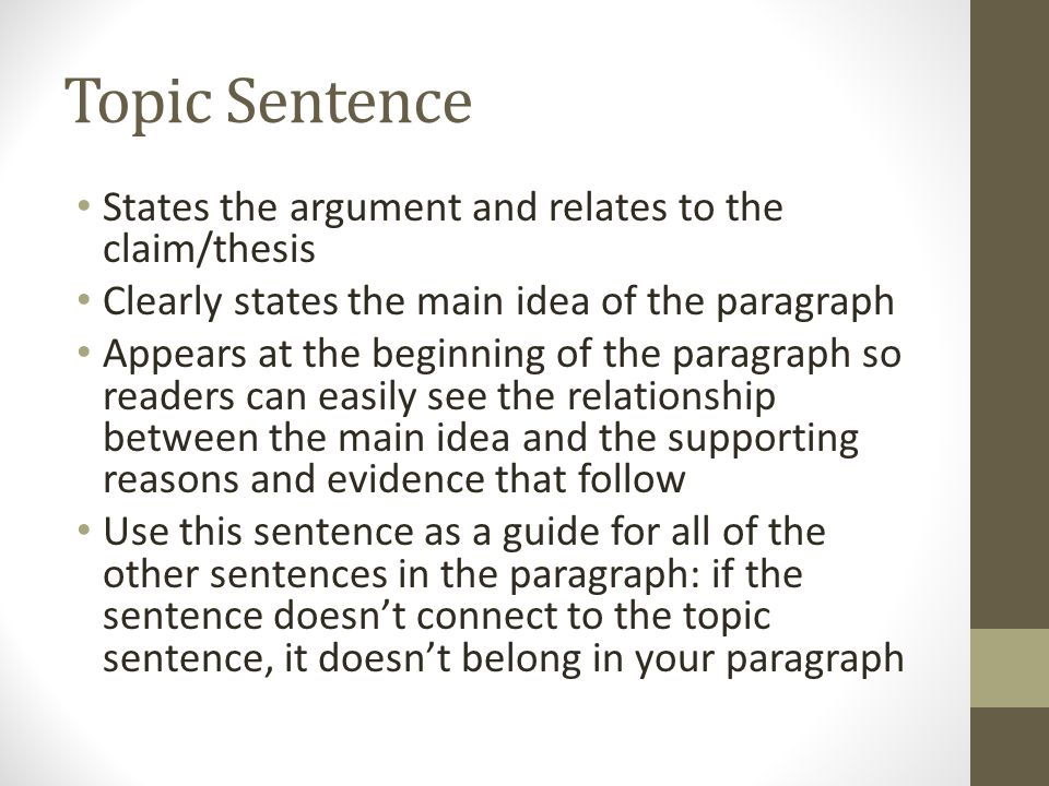 Topic sentence states the argument and relates to the claimthesis 1 topic ccuart Image collections