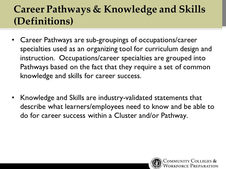 Career Pathways & Knowledge and Skills (Definitions) Career Pathways are sub-groupings of occupations/career specialties used as an organizing tool for curriculum design and instruction.
