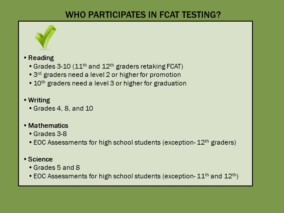 FLORIDA STATE EOC EXAMS Districts Will Select Testing