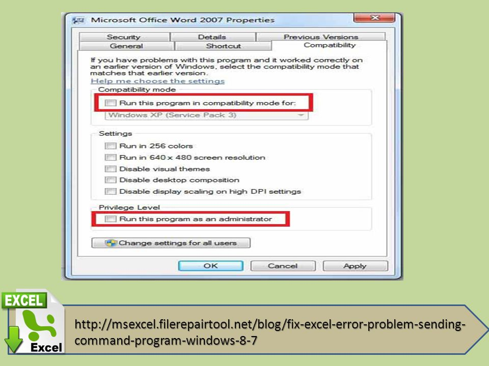 "How To Fix Excel Error ""Problem Sending The Command To The"