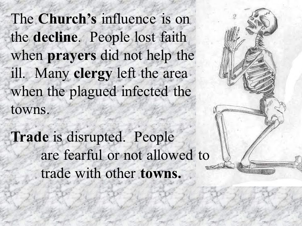 The Church's influence is on the decline. People lost faith when prayers did not help the ill.