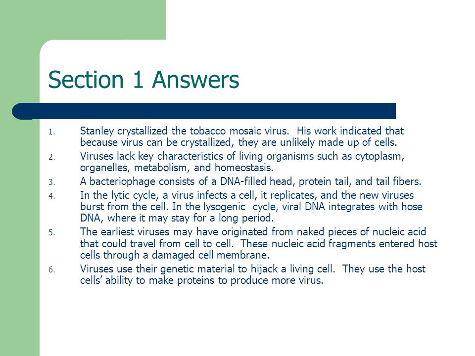Chapter 24 Viruses Section Review Answers Section 1