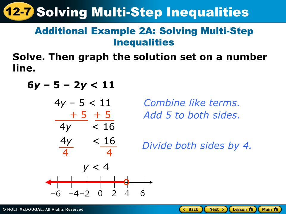 12 7 Solving Multi Step Inequalities Warm Up Warm Up Lesson