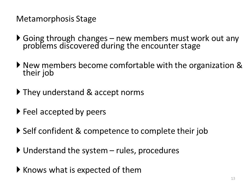 Metamorphosis Stage  Going through changes – new members must work out any problems discovered during the encounter stage  New members become comfortable with the organization & their job  They understand & accept norms  Feel accepted by peers  Self confident & competence to complete their job  Understand the system – rules, procedures  Knows what is expected of them 13