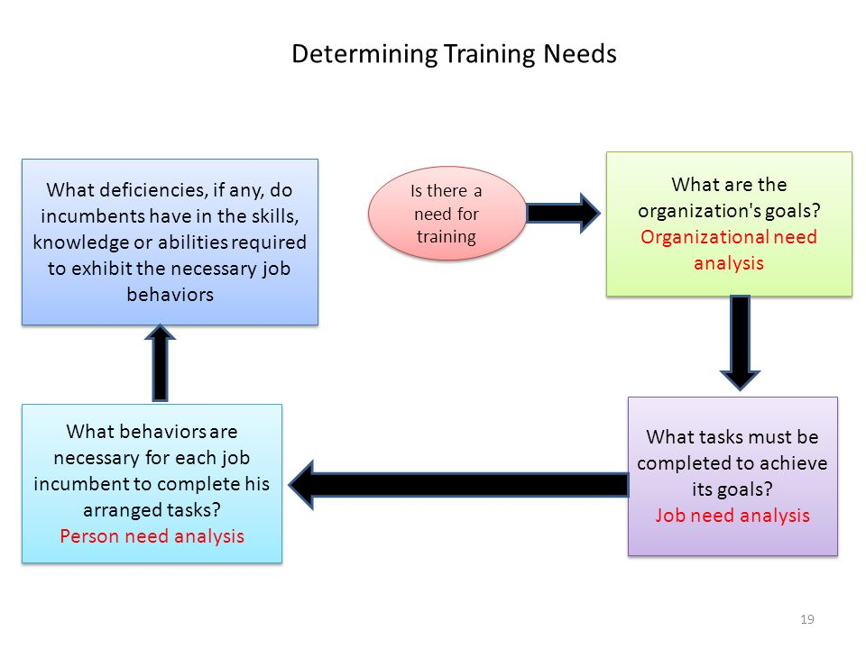 Determining Training Needs What deficiencies, if any, do incumbents have in the skills, knowledge or abilities required to exhibit the necessary job behaviors What behaviors are necessary for each job incumbent to complete his arranged tasks.