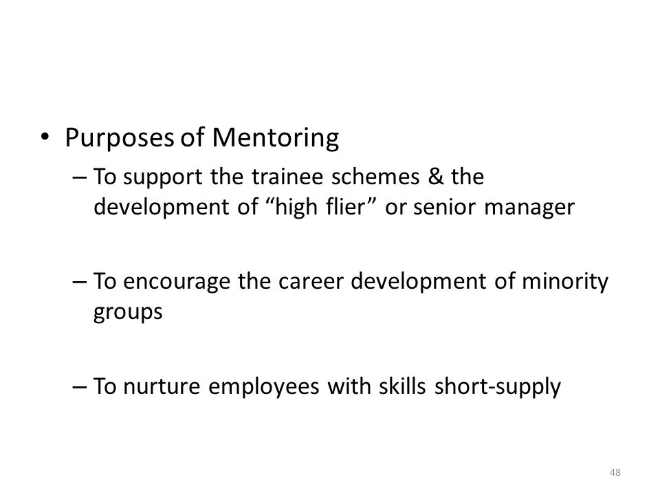 Purposes of Mentoring – To support the trainee schemes & the development of high flier or senior manager – To encourage the career development of minority groups – To nurture employees with skills short-supply 48