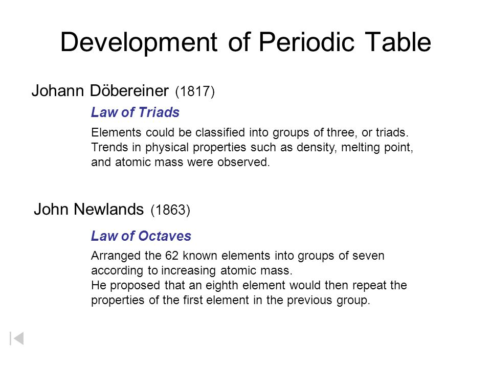 Development of periodic table law of triads law of octaves elements 2 development of periodic table urtaz