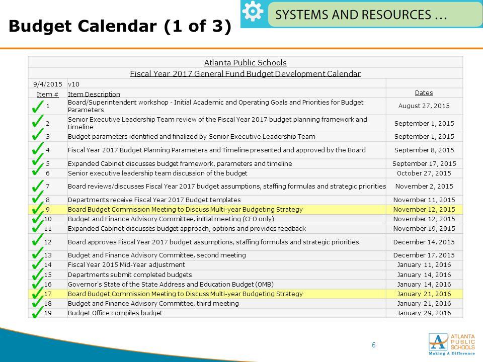Atlanta Public Schools Calendar.1 Board Budget Commission February 29 Agenda Meeting Goals 5