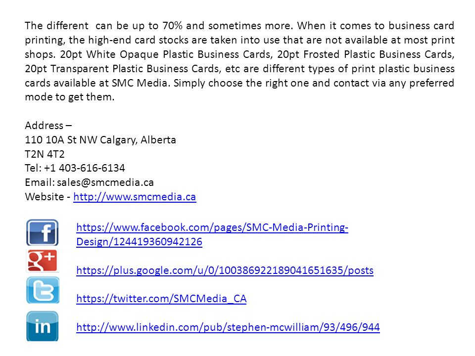 Smc Media A One Stop Platform To Get Print Plastic Business Cards