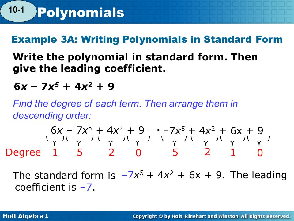 Holt Algebra Polynomials Warm Up Evaluate Each Expression For The