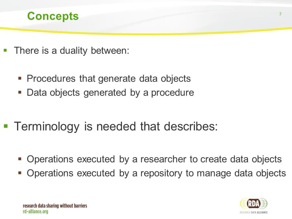 3  There is a duality between:  Procedures that generate data objects  Data objects generated by a procedure  Terminology is needed that describes:  Operations executed by a researcher to create data objects  Operations executed by a repository to manage data objects Concepts