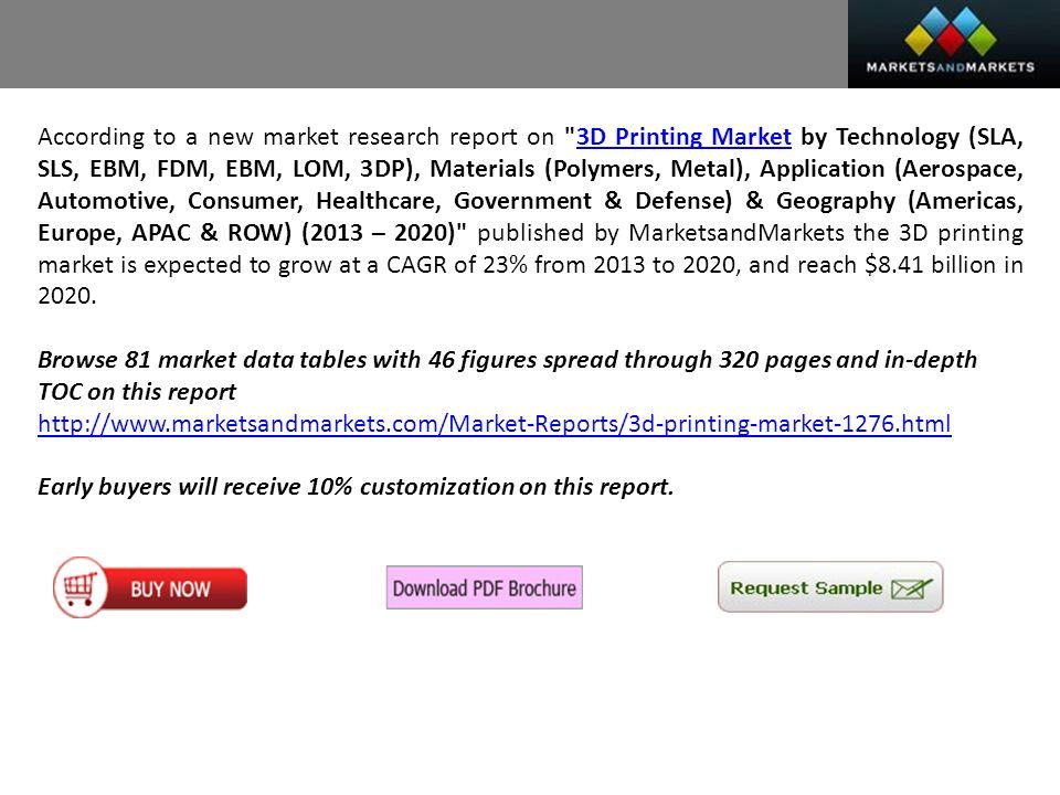 MarketsandMarkets Presents 3D Printing Market worth $8 41Billion by