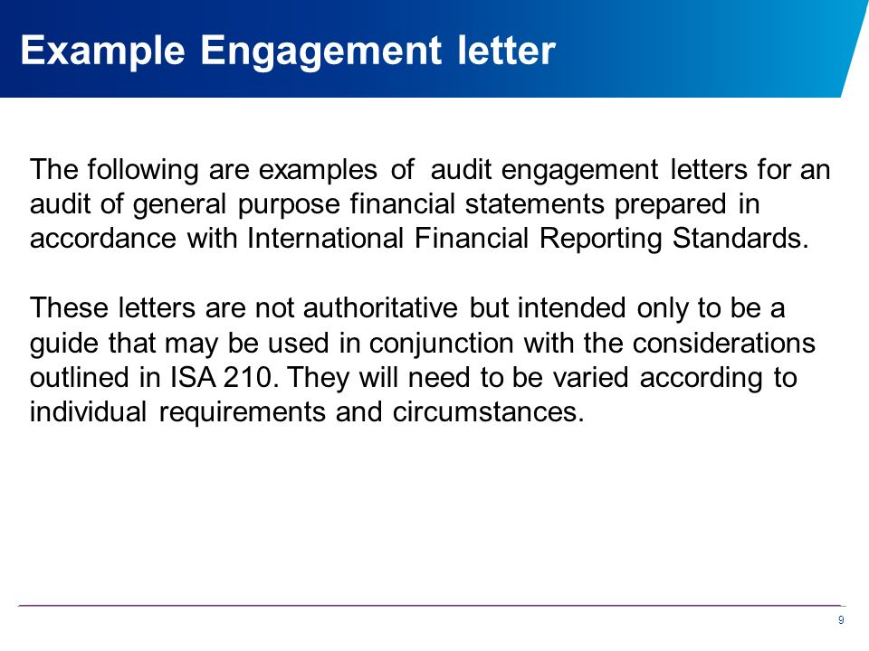 Improving compliance with isas presenters al johnson pat hayle 9 the following are examples of audit engagement letters for an audit of general purpose financial spiritdancerdesigns Image collections