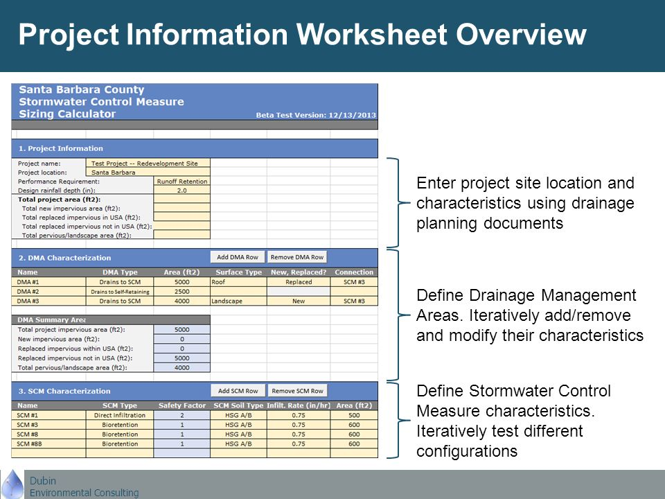 Dubin Environmental Consulting Santa Barbara County Stormwater. Dubin Environmental Consulting Project Information Worksheet Overview Enter Site Location And Characteristics Using Drainage Planning. Worksheet. Project Worksheet Definition At Mspartners.co