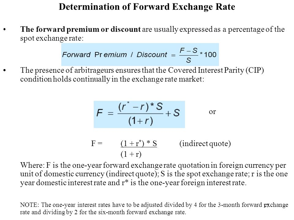 17 Determination Of Forward Exchange Rate The Premium Or Are Usually Expressed As A