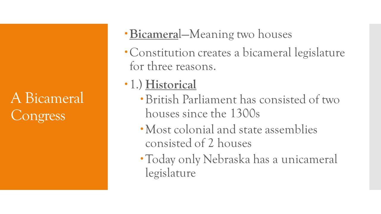 unicameral and bicameral legislature definition