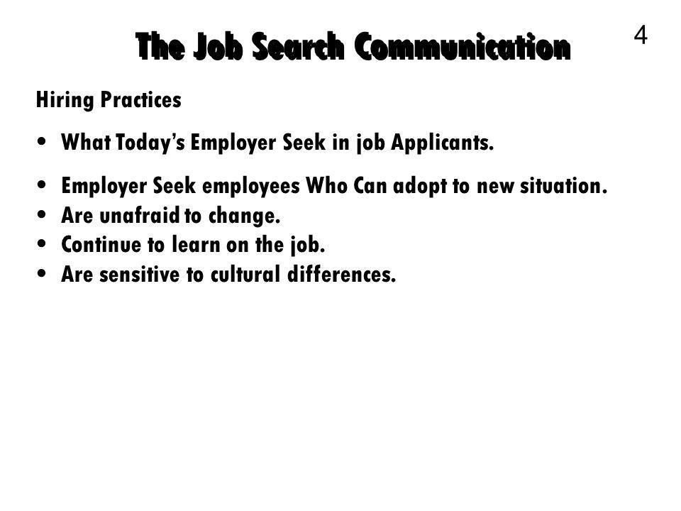 Business Communication 1 The Job Search Communication 2 Planning