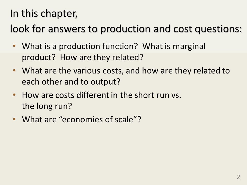 Managerial Economics Cost Analysis In This Chapter Look For