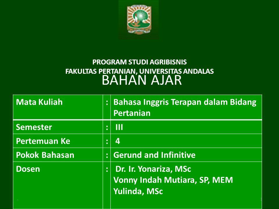 Program Studi Agribisnis Fakultas Pertanian Universitas Andalas