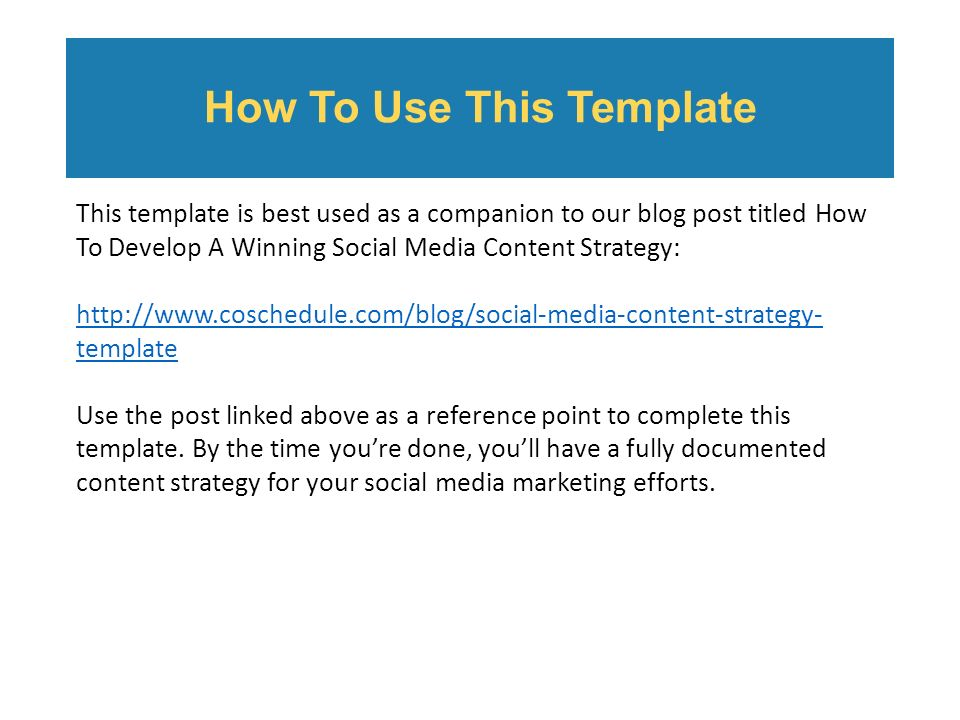 Table Of Contents Establish Goals Social Media Audit Establish - Social media content strategy template