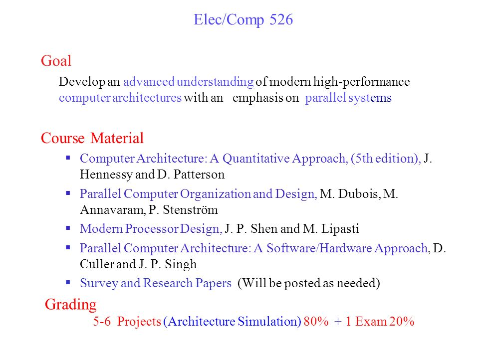 Elec Comp 526 Spring 2015 High Performance Computer Architecture Instructor Peter Varman Dh 2022 Duncan Hall Rice Edux3990 Office Hours Tue Thu Ppt Download