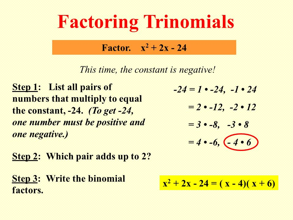4.4 Factoring Quadratic Expressions Learning Target: I can find ...