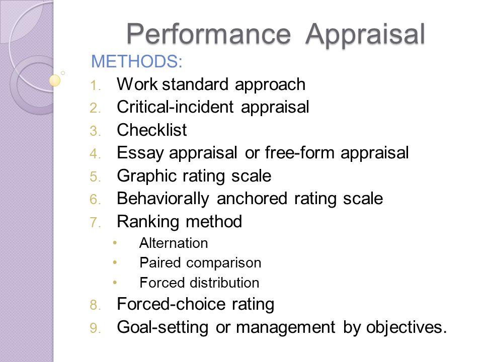 performance appraisal essay examples