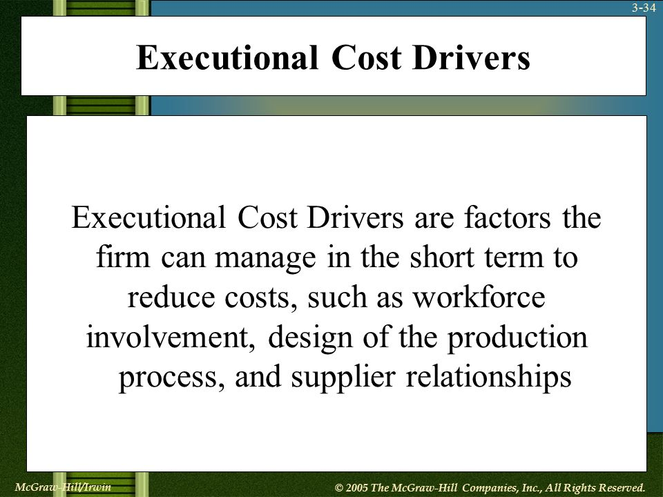 what are executional cost drivers