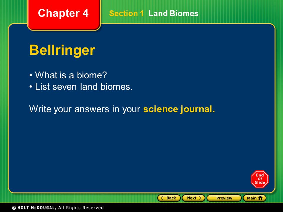 Chapter 4 The Earth S Ecosystems Section 1 Land BiomesLand