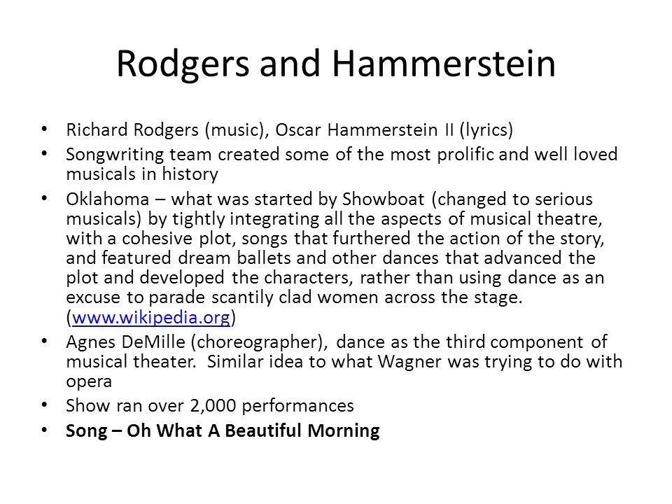 Lyric lyrics opera : Musicals Day 's – 1940's. Musical Comedies 1 Light hearted, often ...