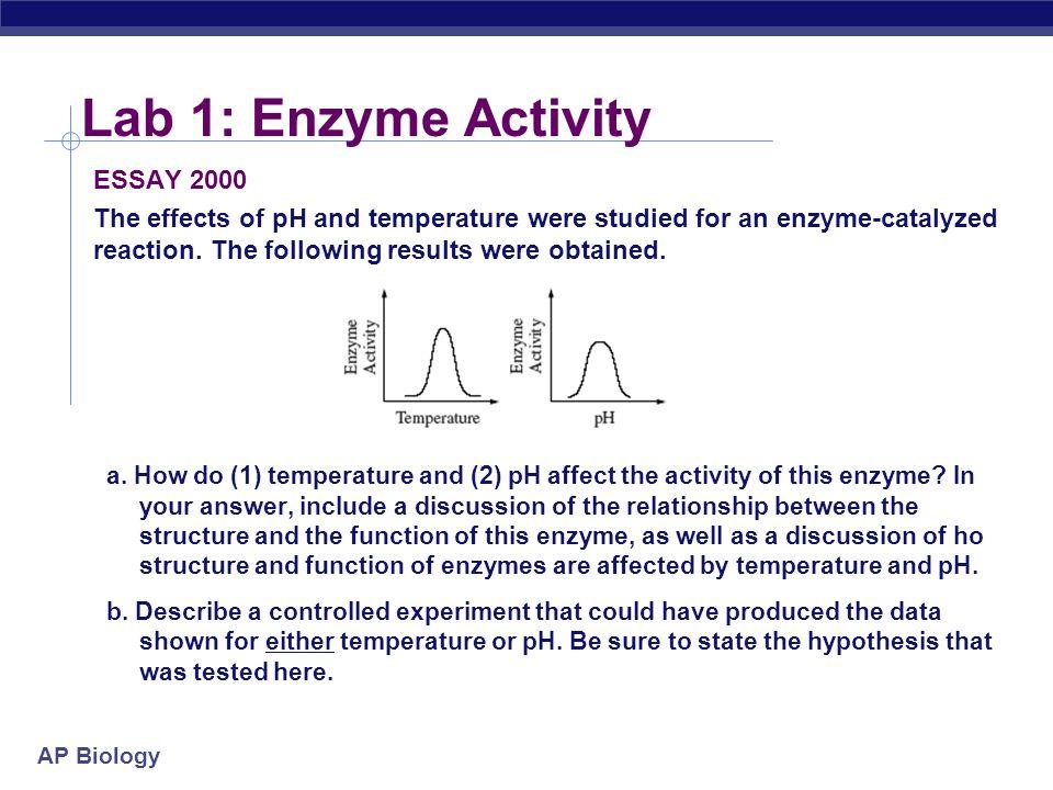 AP Biology Lab Review AP Biology Lab 1 Enzyme Activity