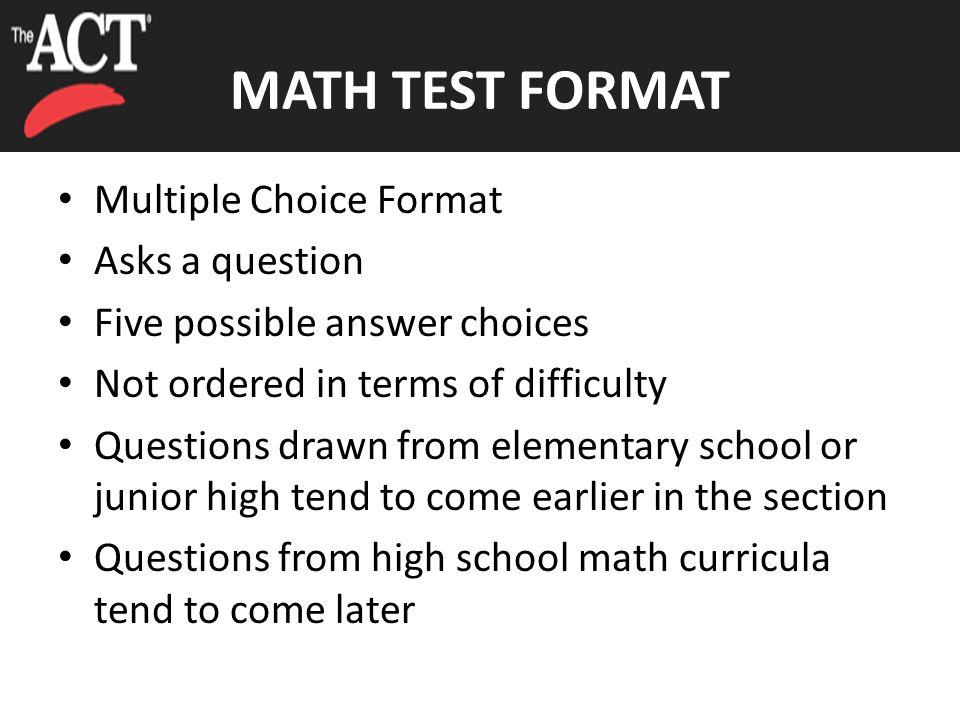 MATH TEST 60 Minutes – 60 Questions Pre-Algebra/Elementary Algebra ...