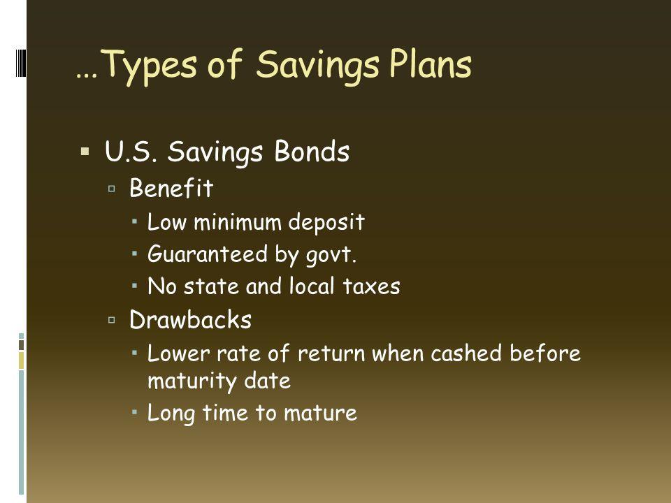 Types Of Savings Plans  Ef 82 A7 U S Savings Bonds  Ef 83 Ba Benefit  Ef 82 A0 Low Minimum Deposit  Ef 82 A0