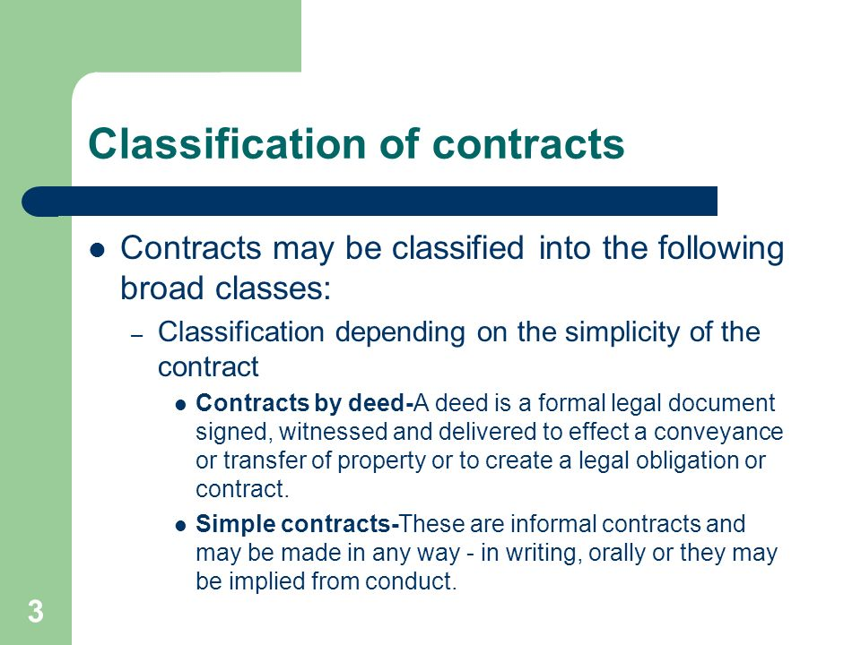 General Law Of Contract By Ileta 1 Introduction A Contract Is