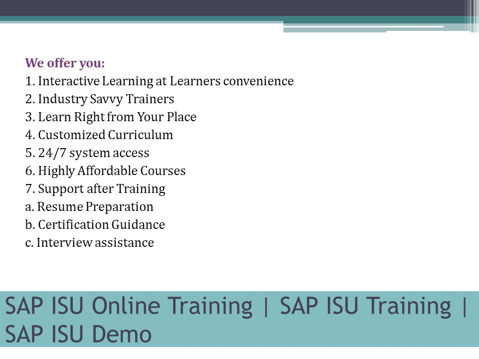 Sap Isu Online Training Sap Isu Training Sap Isu Demo Contact Us