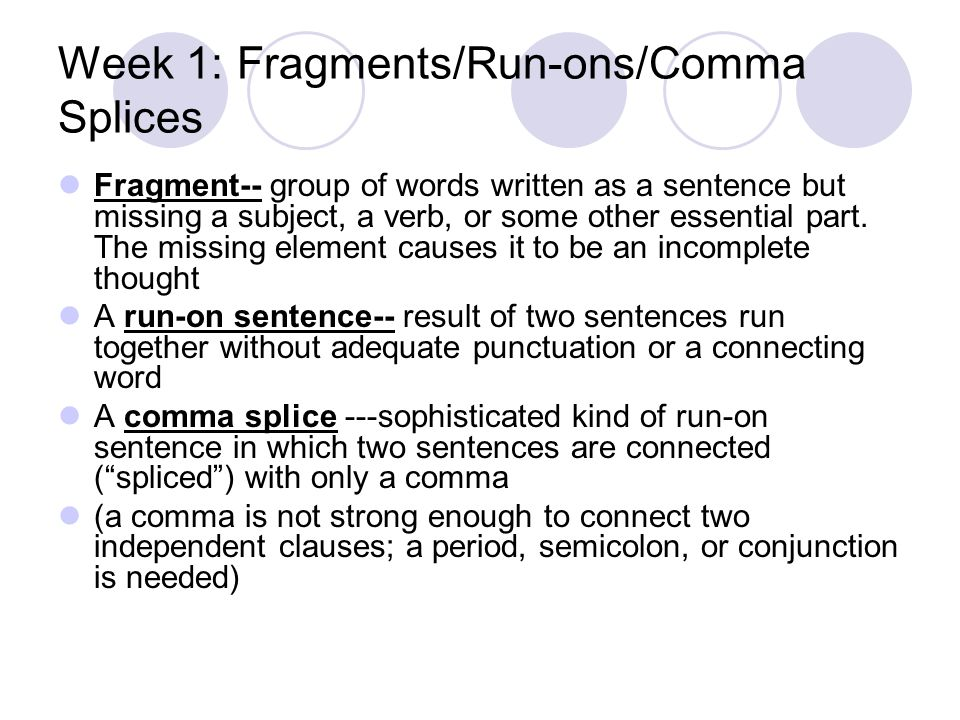 Printable Worksheets fragments and run-on sentences worksheets : DOL—your dose of daily grammar: ) English L112. Week 1: Fragments ...