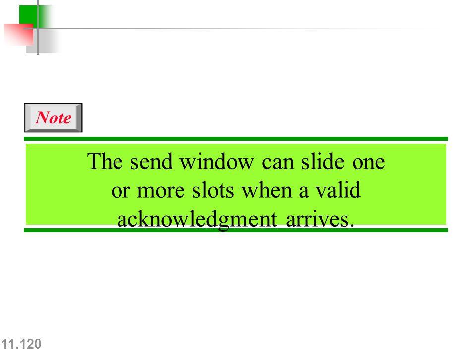 11.120 The send window can slide one or more slots when a valid acknowledgment arrives. Note